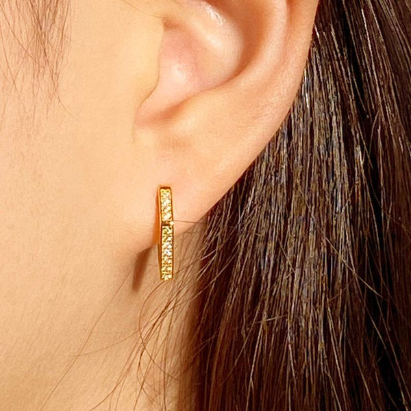 Pentagon Huggie Earrings in 18K gold plated sterling silver by Ma Petite Mer Jewelry