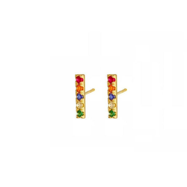 Rainbow Bar Stud Earrings in 18K gold plated sterling silver by Ma Petite Mer Jewelry