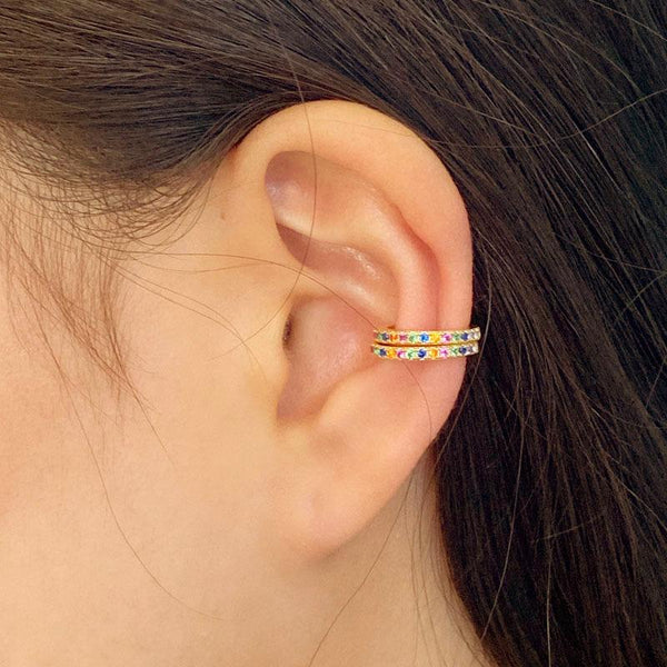 Rainbow Cuff Earrings in 18K gold plated sterling silver by Ma Petite Mer Jewelry