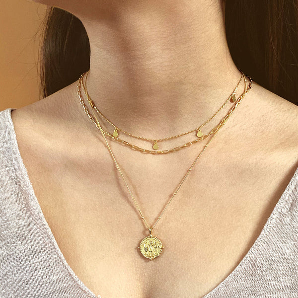 Roman Coin Pendant Necklace in 18K gold plated sterling silver by Ma Petite Mer Jewelry