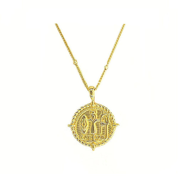 simple and elegant Roman Coin Pendant Necklace in 18K gold plated sterling silver by Ma Petite Mer Jewelry