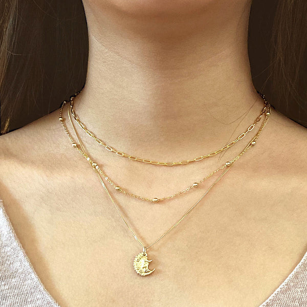 Satellite Chain Necklace in 18K Gold Plated Sterling Silver by Ma Petite Mer Jewelry