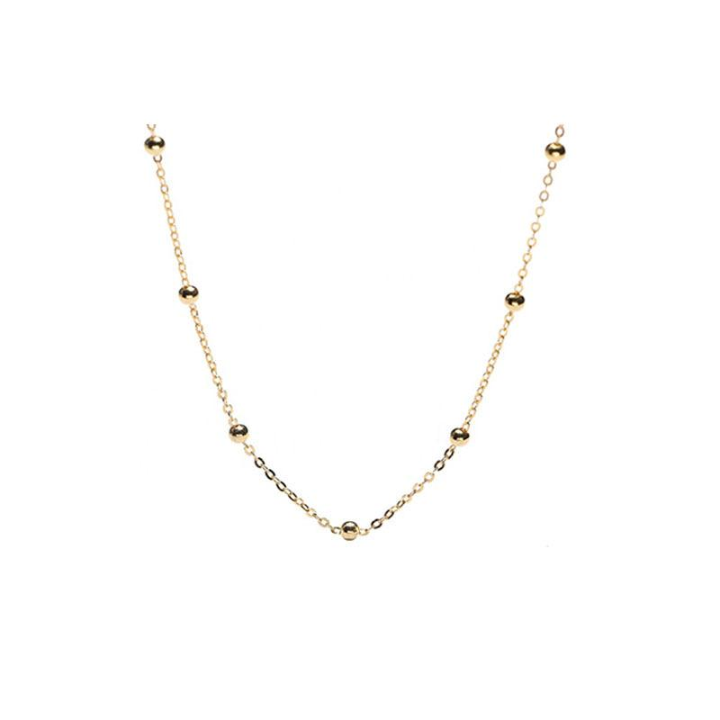 Dainty Satellite Chain Necklace in 18K Gold Plated Sterling Silver by Ma Petite Mer Jewelry