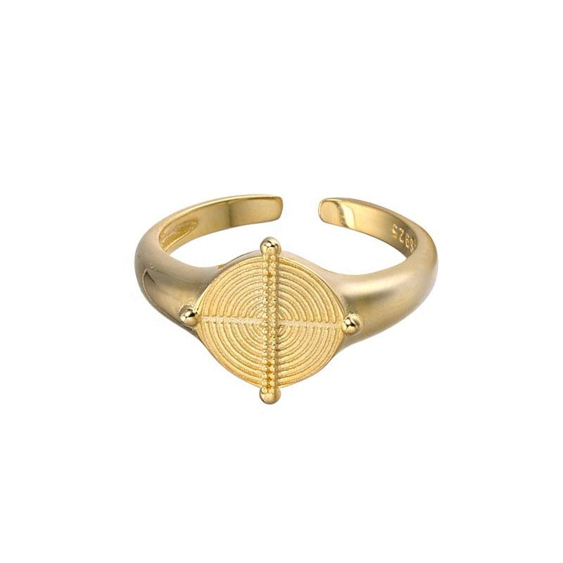 Signet Ring in 18K Gold Plated Sterling Silver by Ma Petite Mer Jewelry