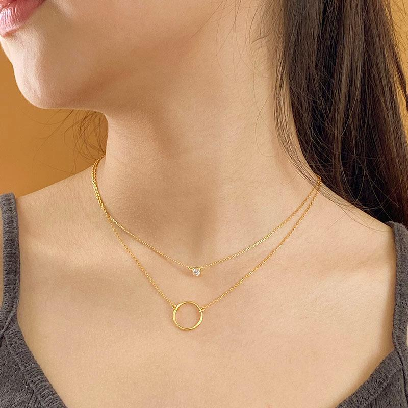 dainty layered necklaces in 18K gold plated sterling silver by Ma Petite Mer Jewelry