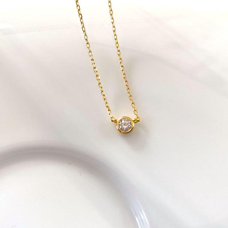 Solo Necklace in 18K gold plated sterling silver by Ma Petite Mer Jewelry