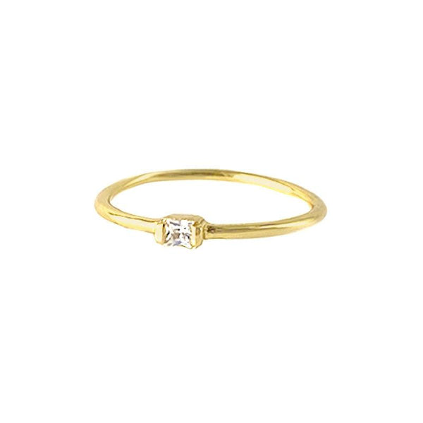 dainty Square Ring in 18K gold vermeil by Ma Petite Mer Jewelry