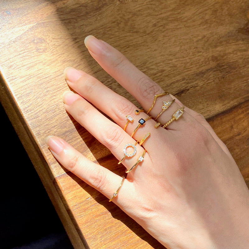 stackable rings in 18K gold over sterling silver by Ma Petite Mer Jewelry