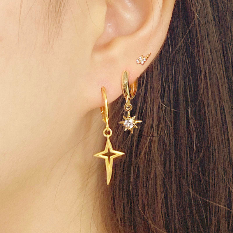 Starburst Huggie Earrings in 18K gold plated sterling silver by Ma Petite Mer Jewelry