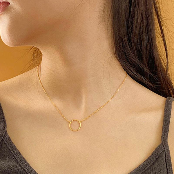 simple and stylish Thin Circle Necklace in 18K gold plated sterling silver by Ma Petite Mer Jewelry
