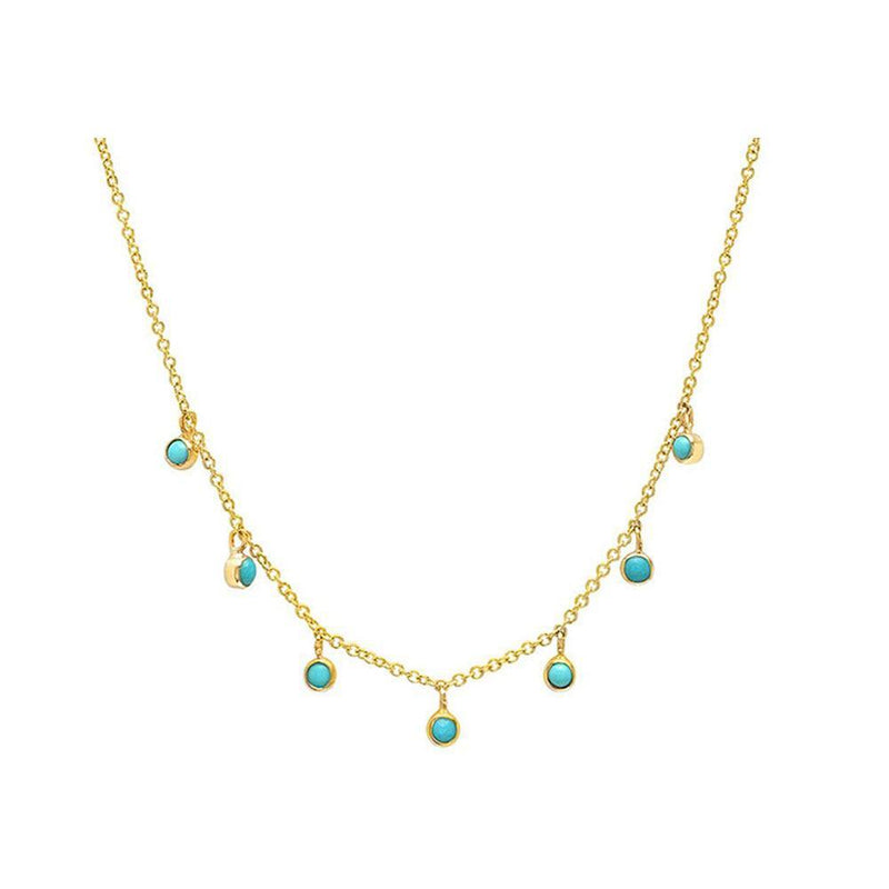Simple yet stylish Turquoise Station Necklace in 18K gold over sterling silver by Ma Petite Mer Jewelry