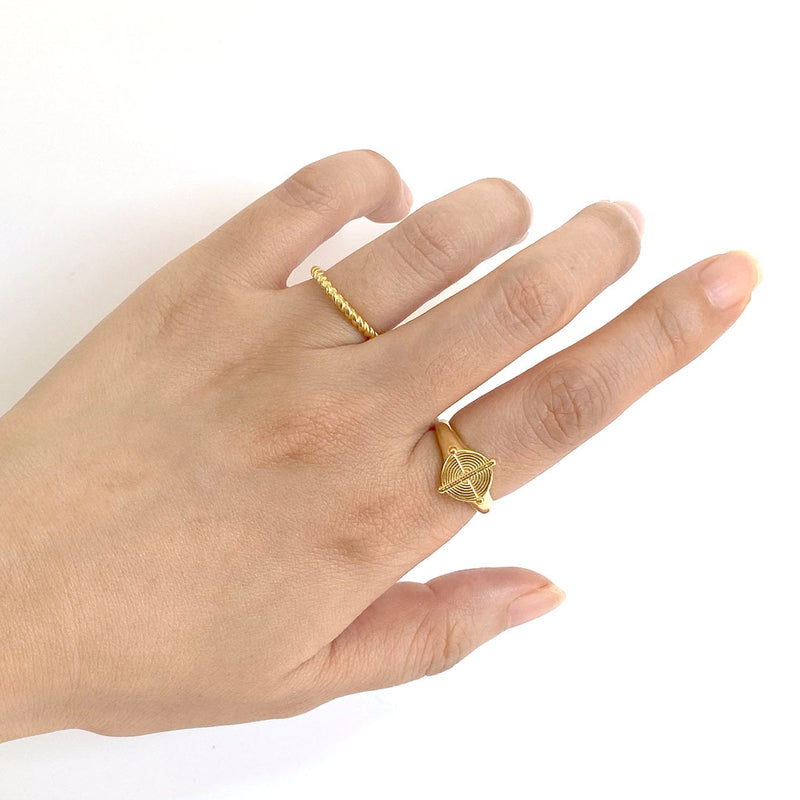 Twist Ring and Signet Ring in 18K gold plated sterling silver by Ma Petite Mer Jewelry
