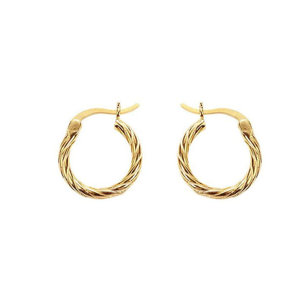 Twisted Hoop Earrings in 18K gold plated sterling silver by Ma Petite Mer Jewelry
