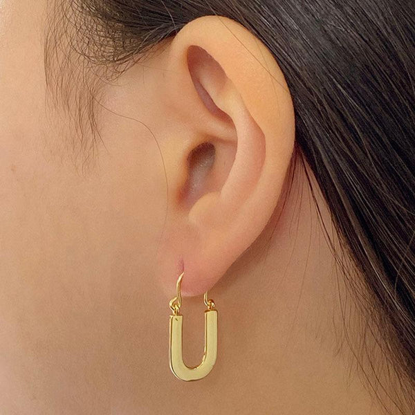 U Earrings in 18K gold plated sterling silver by Ma Petite Mer Jewelry