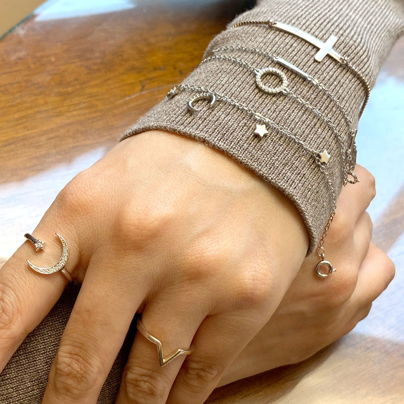 Rings and bracelets in sterling silver by Ma Petite Mer Jewelry