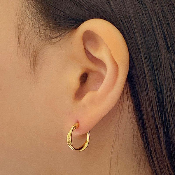 Wave Hoop Earrings in 18K gold plated sterling silver by Ma Petite Mer Jewelry