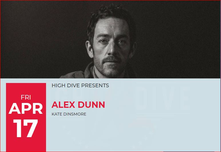 Flier for High Dive Alex Dunn Event