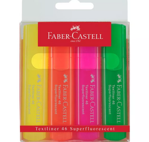 Faber-Castell - Textliner 46 Superflourescent, wallet of 4, assorted