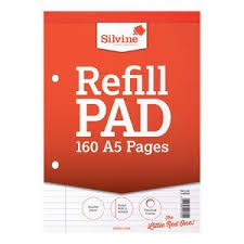 SILVINE REFILL PAD 160 PAGES - RED