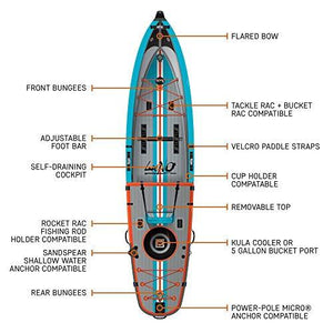 "Inflatable 12'6"" BOTE Lono Aero Inflatable Kayak & Stand Up Paddle Board"