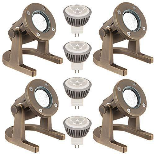 LFU 4 Pack of Solid Brass Constructed Underwater Pond Lighting