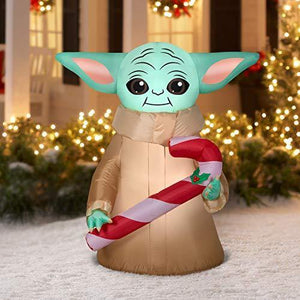 Star Wars Mandalorian The Child Yoda with Candy Cane Inflatable