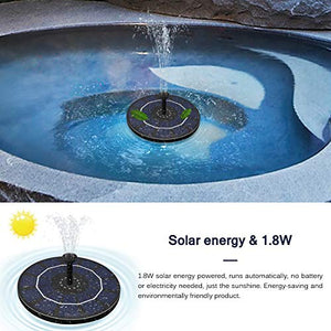 ZLBYB 1.8W Solar Floating Fountain Water Pump Round Bird Bathtub Water Basin Decoration Fish Tank Pond Swimming Pool Outdoor Garden