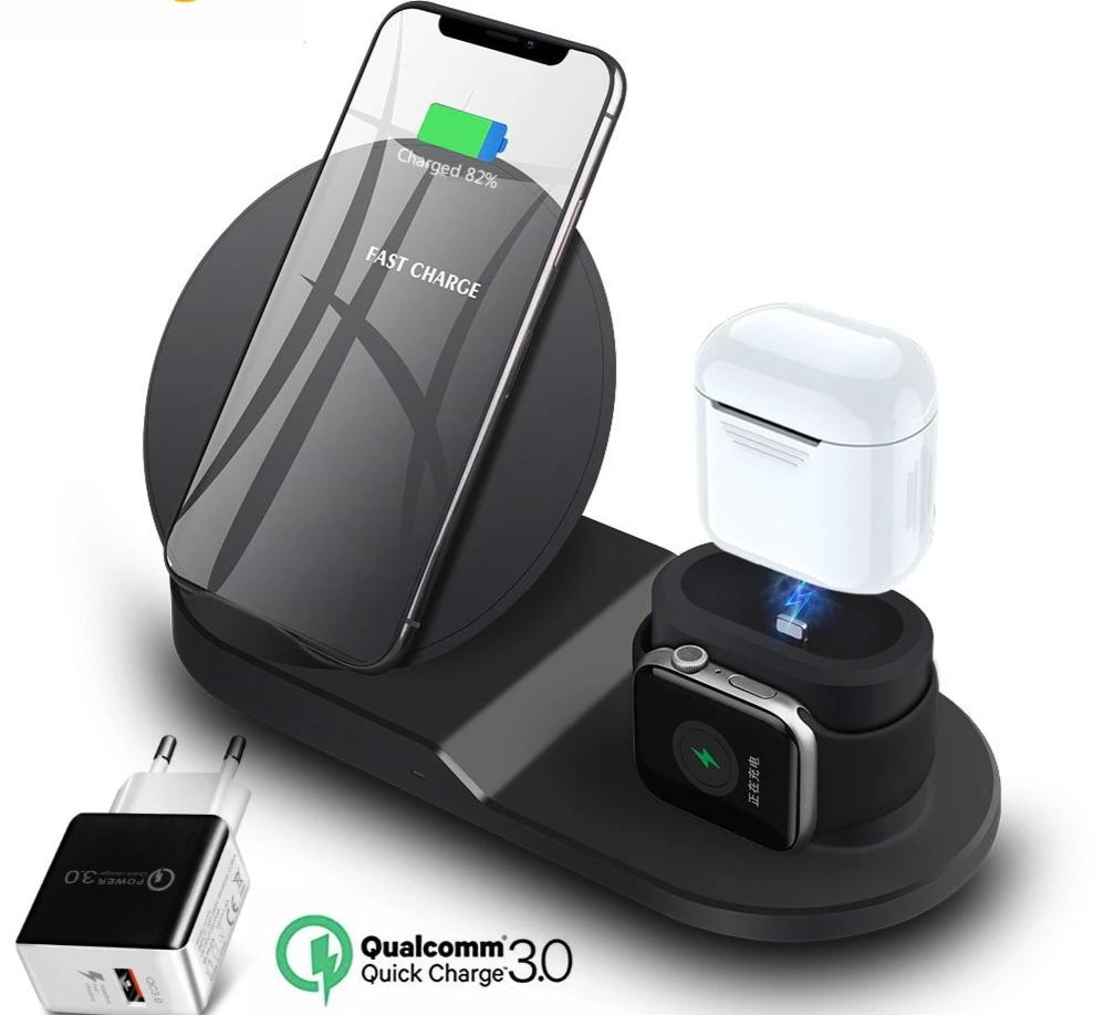 Wireless charging station black