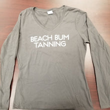Load image into Gallery viewer, Women's L/S Tee- Grey Beach Bum Tanning