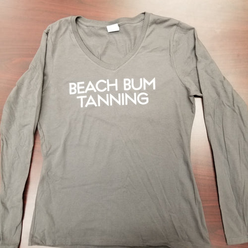 Women's L/S Tee- Grey Beach Bum Tanning