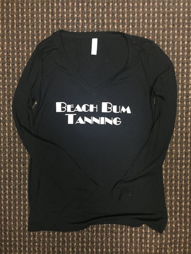 Women's Black V-neck Long Sleeve