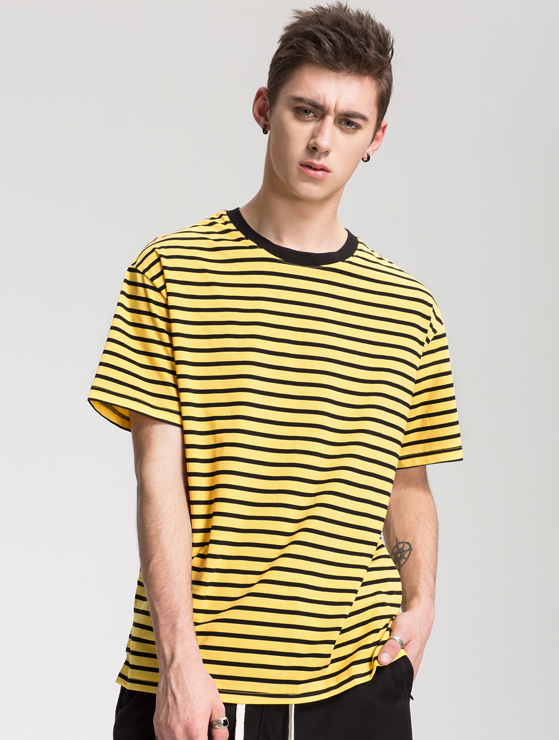 yellow black striped t-shirt WP042