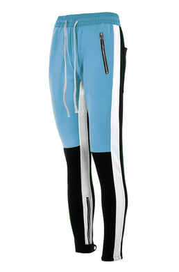 baby blue and black fusion track pants WP025