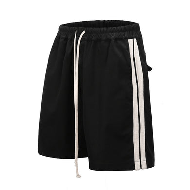 BLACK WITH SIDE WHITE STRIPE SHORTS-  WP113