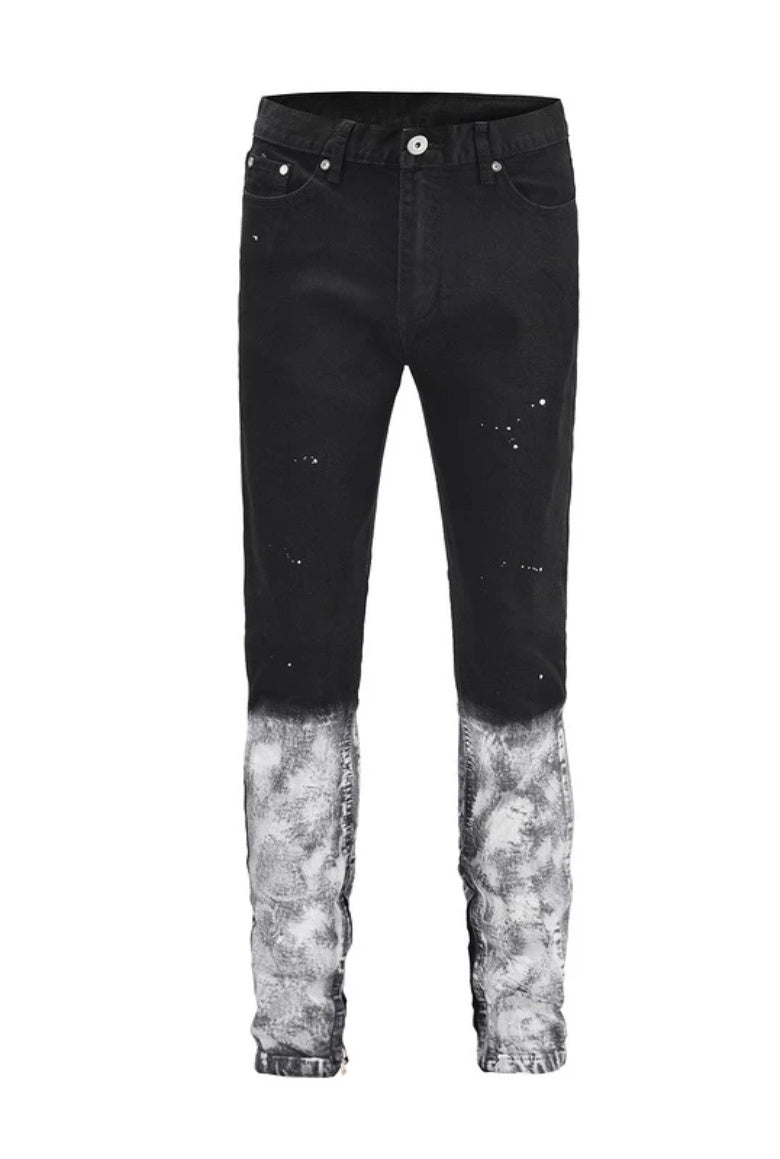 Sprayed Paint Denim Black Jeans WP099