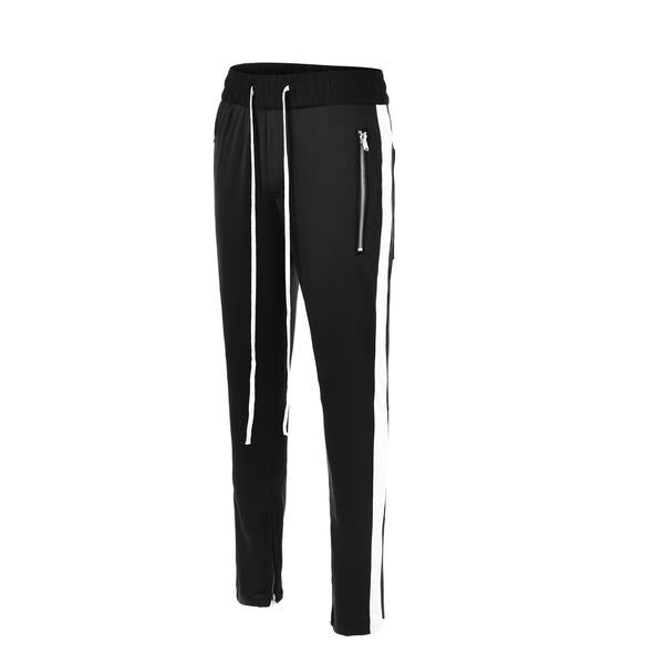 Black with White Side Stripe Track Pants V1 WP091