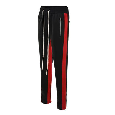 Black with Red Side Stripe Track Pants V2 WP097