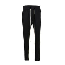 Load image into Gallery viewer, Black with White Side Stripe Track Pants V2 WP098