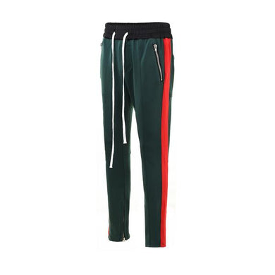 Green with Red Side Stripe Track Pants V1 WP096