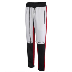 white and black side red fusion track pants WP005