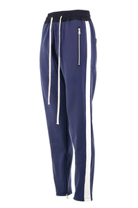 Navy Blue with White Side Stripe Track Pants V1 WP093