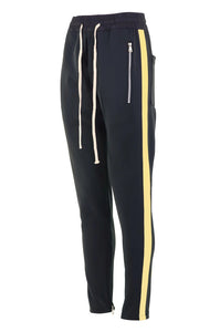 Black with Yellow Side Stripe Track Pants V1 WP092