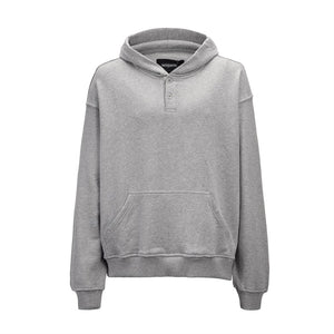 Grey Neckline Two Buttons Hoodies  WP073