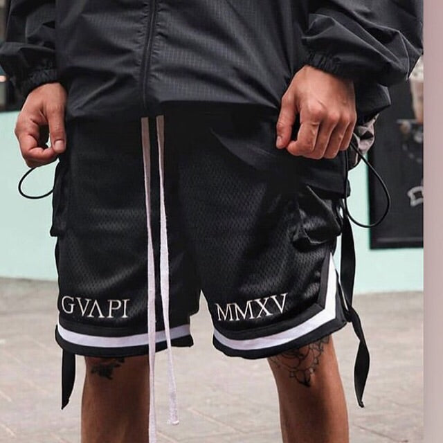 White embroidery black Basketball Shorts  WP012
