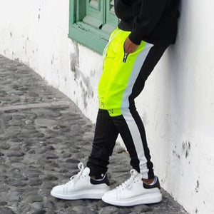Neon Green And Black Fusion Track Pants WP081