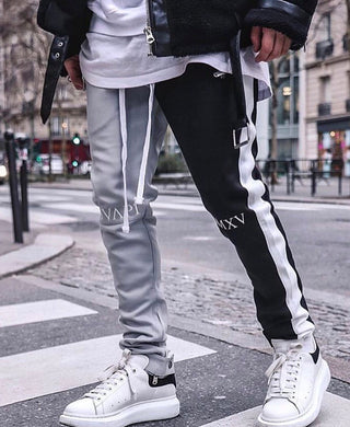 Grey And Black Fusion Track Pants WP078