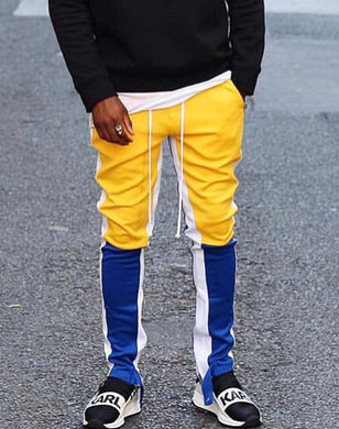 yellow and blue fusion track pants WP028