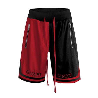 red and black fusion Basketball Shorts  WP015
