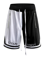 Load image into Gallery viewer, white and black fusion Basketball Shorts  WP014