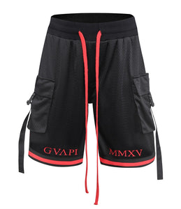 red embroidery black Basketball Shorts  WP013
